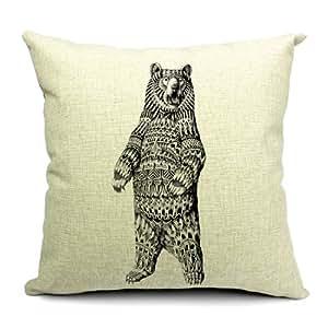Wildlife animaux Imprimé Bear Housse de coussin en lin