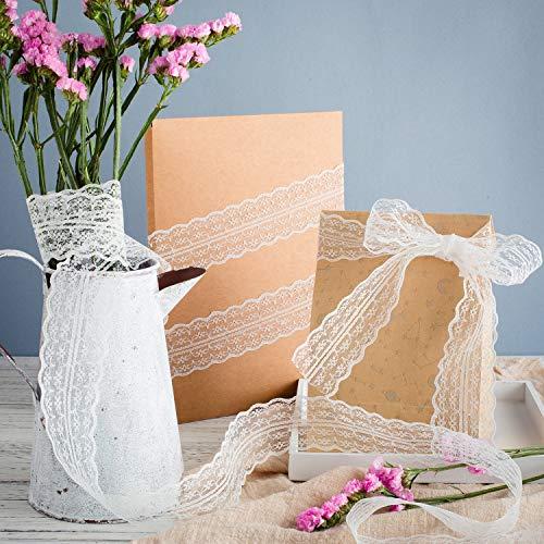 Bset Buy 60M Vintage Spitzenband Borte Spitzenbordüre Weiß 3 Verschiedene Muster Spitze für Hochzeit Tischdeko Basteln Geschenkband Kraftpapier -