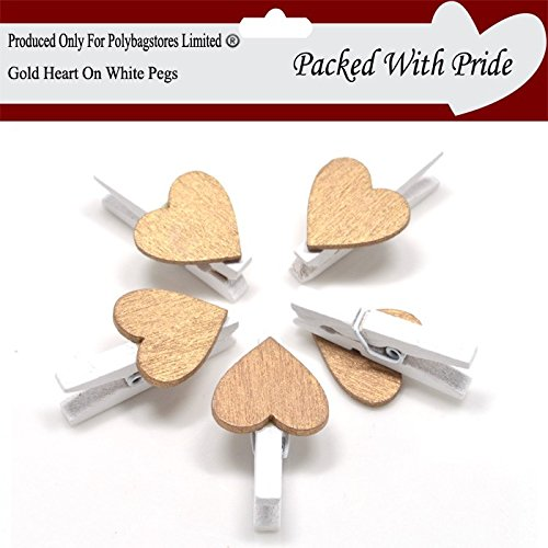 PACK OF 25 - GOLD Coloured Hearts On WHITE 30mm Wooden Pegs - Mini Clip Metal Spring - Wedding Decor - 25 Colours To Choose From - These Pegs Are produced and packaged especially for Polybagstores Limited� (Gold)