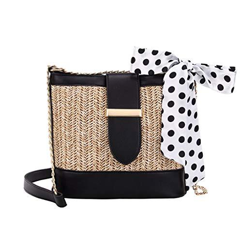 Dorical Frauen Stroh Umhängetasche, Damentasche Strohtasche,Sommer Strandtaschen handgewebte Cabrio Tote Crossbody Strandtasche für Damen Ausverkauf(Schwarz)