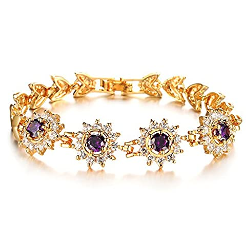 Mädchen Era Gelb Gold Filled Amethyst mit echtem Princess Charm-Armbänder, 16,8cm
