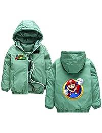 Super Mario Chaqueta para Niño y Niña de Invierno Chaqueta Estampados Cálido Abrigo Hipster Outwear