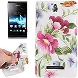 Rocina TPU Case Schutzhülle für Sony Xperia E Dual Blumen pink lila