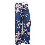 Hibote Pantalones de Yoga de Estampado Floral de Flores - Tallas Grandes de Moda de Moda cordón Ancho Palazzo Pantalones Azul/XXL