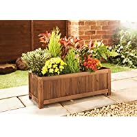Caprican New Handmade Wood Outdoor Garden Rustic Burntwood Oblong Folding Planter