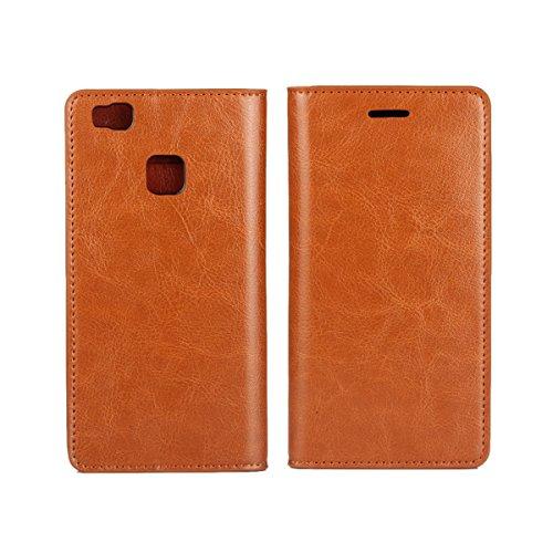 Wallet-Abdeckung für Huawei P9 lite Echter Kalb-Leder-Kasten (braun) (Leder Braun Kalb)