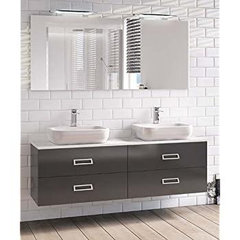 Mobile arredo bagno liverpool sospeso 140 cm doppio lavabo in cristallo bianco con 4 colori - Mobile bagno sospeso 140 cm ...
