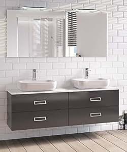 Mobile bagno 160x40 cm arredo doppio lavabo 4 cassetti for Arredo casa amazon
