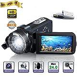 Videocamera Digitale - YUNDOO Videocamera Full HD 1080P Camcorder, 3.0 pollici LCD 270 gradi schermo ruotabile 16X Zoom digitale Videocamera YouTube