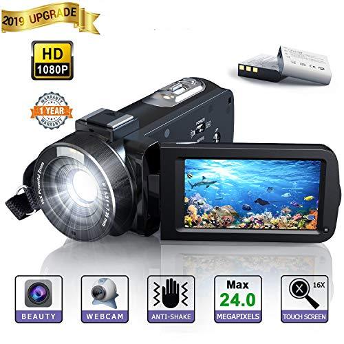 Videokamera Camcorder, 【Updated】 YUNDOO 1080P Video Camcorder Full HD 24MP, 3.0-Zoll-LCD-Bildschirm mit 270 Grad Drehbarem 16X-Digital Zoom Videokamera Zwei Batterie Enthalten