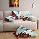 #7: Story@Home Multi Color Premium Printed Cushion Cover set of 5 Pcs - 16 x 16 Inches