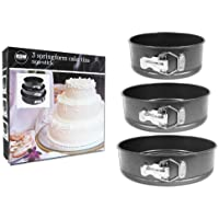 3 Piece Non Stick Spring Form Cake Tin Set Three Sizes Cake Baking Making Coated Tins Space Saving Stackable Storing 18cm, 22cm, 26cm Diameter & 7.5cm Deep