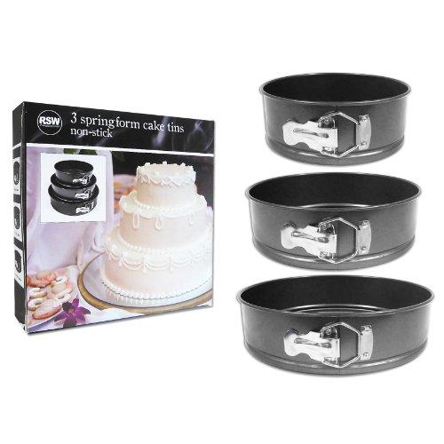 3 Piece Non Stick Spring Form Cake Tin Set Three Sizes Cake Baking Making  Coated Tins Space Saving Stackable Storing 18cm, 22cm, 26cm Diameter U0026  7.5cm Deep