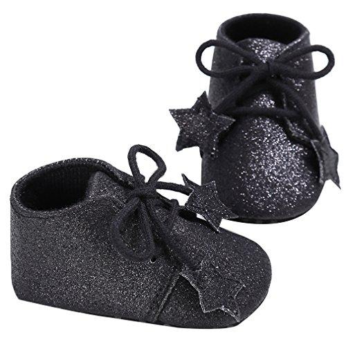 EOZY Babyschuhe Mädchen Glitzer Lauflernschuhe Festliche Schuhe Taufschuhe Schwarz