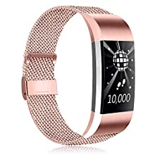 Amzpas Replacement For Fitbit Charge 2 Strap, Metal Mesh Magnetic Adjustable Clasp Stainless Steel Replacement Strap for Fitbit Charge 2 Men Women Small Large (S, 04 Rose Pink)