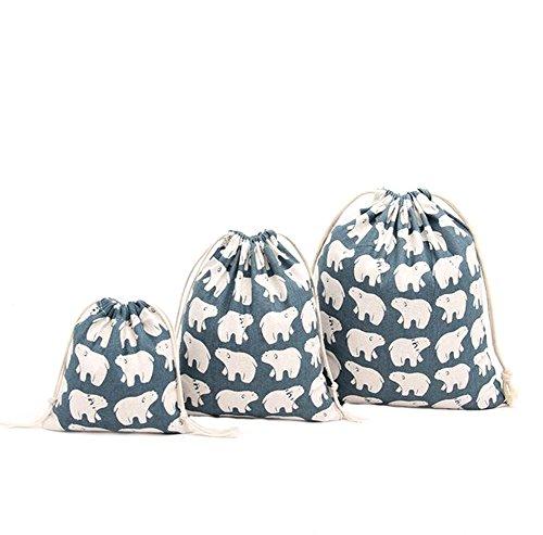 Cdet 3 Pcs Kordelzug Tasche Hängende Tasche Groß Mittlere Größe Klein Eisbär Beutel Hanf Gebündelt Kordelzug Tee Geschenk Taschen Lagerung Tasche Kosmetiktaschen Aufbewahrung Organizer