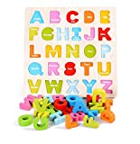 Lewo Wooden ABC Alphabet Chunky Puzzle Board Educational Preschool Toys for Kids