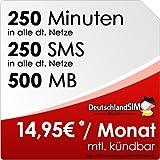 DeutschlandSIM SMART 250 [SIM und Micro-SIM] monatlich kündbar (500MB Daten-Flat, 250 Frei-Minuten, 250 Frei-SMS, 14,95 Euro/Monat, 15ct Folgeminutenpreis) Vodafone-Netz preiswert