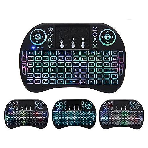 Mini drahtlose Tastatur, Wishpower 2,4Ghz mini wireless Keyboard LED Hintergrundbeleuchtung Ergonomische tastatur mit touchpad für tastatur Smart TV, Raspberry Pi 3, PC fernbedienung (Multicolor)