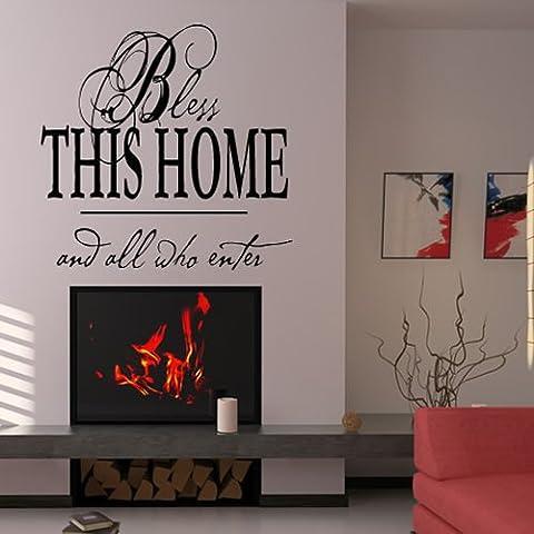 Benedici questa casa e tutti coloro che entrano religiosa Adesivo Art disponibile in 5 dimensioni e 25 colori Medio Argento Metallizzato - Adesivo Religiosi