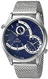 August Steiner Hommes de montre à quartz avec affichage analogique et bracelet en acier inoxydable Argenté Cadran Bleu as8168ssbu