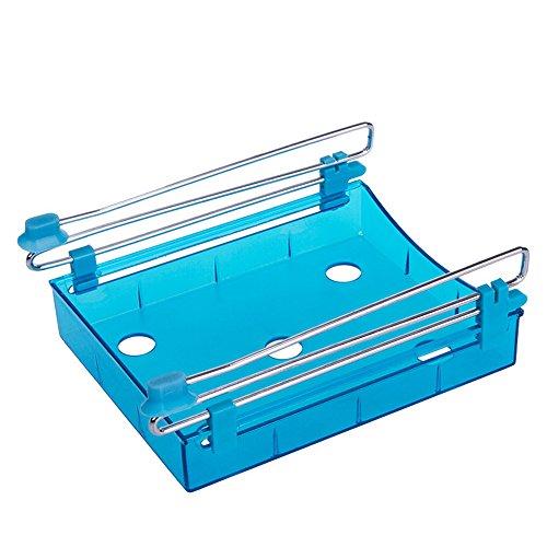 Yiuswoy Mehrzweck Plastik Sparen Sie Platz Gefrierschrank Zubehoer Tablett Abstandsschicht Kuechen Schublade Organzier Kuehlschrank Regal - Blau -