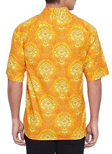 Shalinindia Herren Baumwolle Gedruckt Strand Shirt-Hälfte Ärmel-Fronttasche  Gelb 1 ...