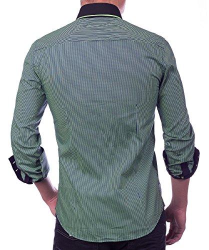 Herren Hemd · Regular Fit · Langarm Hemd · Sportliches Nadelstreifen Design · Shirt mit Stehkragen für Freizeit · Business · Casual · in Schwarz und Weiß · H1388 in Markenqualität Grün