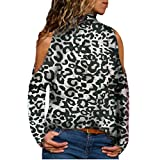 WWricotta Women's Long Sleeve Leopard Print Turtleneck Strapless Pullover Top(Schwarz,M)