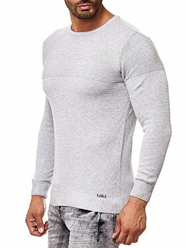 Rusty Neal Herren Feinstrick-Pullover Gerippt Streifen Schwarz Weiß Khaki 13313 Grau