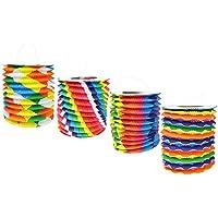 com-four® 4er Set Kinder Laterne aus Papier in Zylinderförmigiger Form, Lampion für Kinder (04 Stück - zylinderförmig Muster)