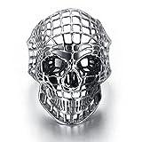 Bishilin Anillo Acero Inoxidable Compromiso Cráneo Anillo Calavera Anillo de Hombre Gothic Anillo Plata Anillo 20x35MM Talla 20