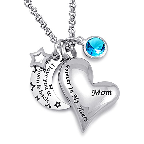 YOUFENG Jewellery Urna Collares para Cenizas I Love You to The Moon and Back para mamá Cremation Urn Locket Birthstone Joyas
