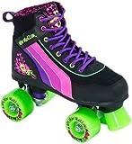 SFR Rio Roller Skull Quad Roller Skates - Black/Pink/Green - Size UK8