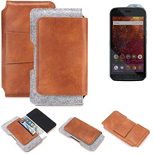 K-S-Trade Gürteltasche für Caterpillar Cat S61 Gürtel Tasche Schutz Hülle Hüfttasche Belt Case Schutzhülle Handy Hülle Smartphone Sleeve aus Filz + Kunstleder (1 St.)