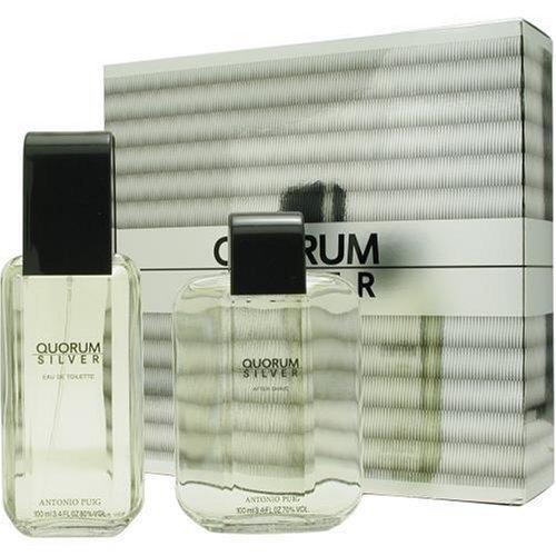 Antonio Puig Quorum Silver for Men Gift Set (Eau de Toilette Spray, After Shave Lotion)
