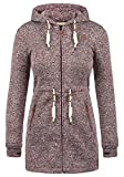 DESIRES Thora Damen Lange Fleecejacke Sweatjacke Jacke Mit Kapuze Und Daumenlöcher, Größe:L, Farbe:Wine Red (0985)