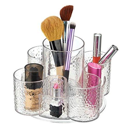 mDesign Pratico organizer make up - Porta cosmetici a 5 scomparti – Organizer trucchi girevole per avere a portata di mano tutti i trucchi e prodotti cosmetici – Colore: trasparente