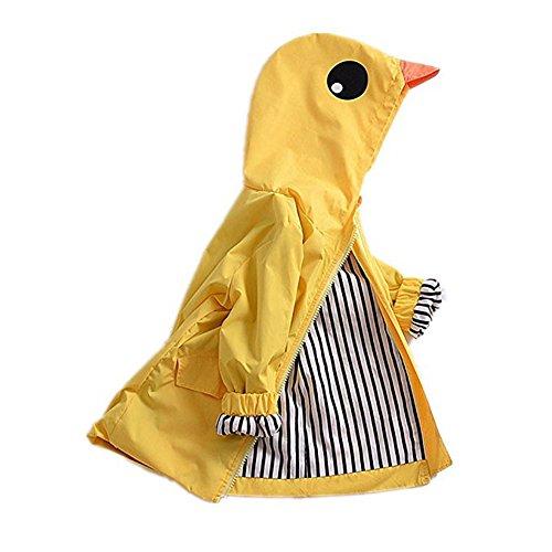 WANPUL Regenmantel Kinder Rainsuit Jungen & Mädchen Cartoon niedliche Raincoat Wasserdichte Regenjacke Coat Gelb 90 30 Rainsuit