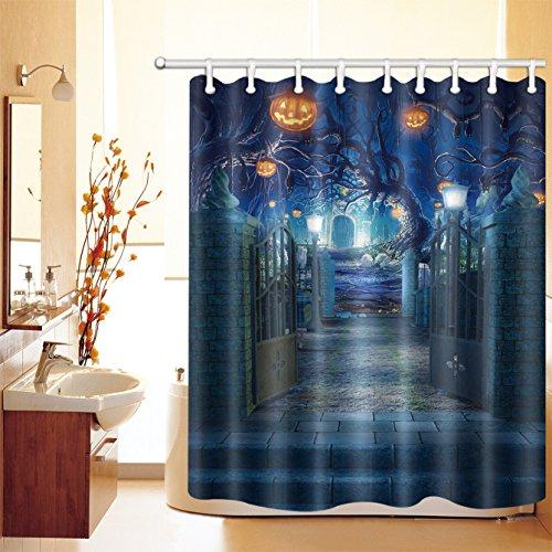 LB 150x180cm Polyester Stoff Bad Vorhänge mit 10 Haken Wasserdicht Kürbis Licht und seltsamen Baum auf dem Friedhof, Halloween Nacht 3D-Druck Gemusterten Duschvorhang für Bad Dekoration
