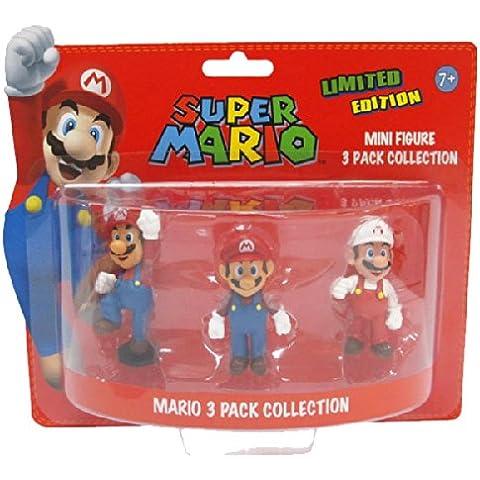 BG Games Mario - juguetes y figuras de videojuegos (Azul, Rojo, Color blanco) - Figura Pack 3 mini figuras Super Mario