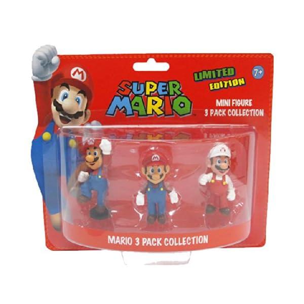 BG Games Mario - Juguetes y Figuras de Videojuegos (Azul, Rojo, Color Blanco) - Figura Pack 3 Mini Figuras Super Mario 1