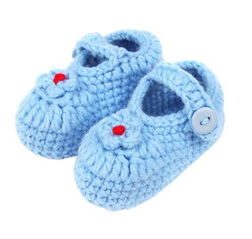 Bigood Chausson Bébé Chaussures au Crochet Souple Fleur Bouton Hiver