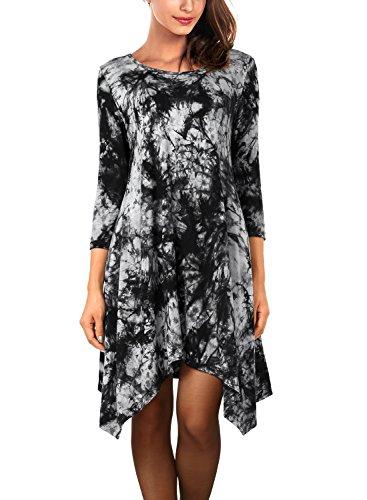 DJT Femme Robe Elastique Pull Irrigulier Sweats Noir tie-dyed
