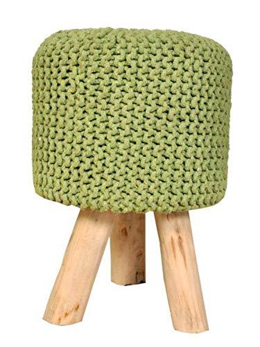 casamia Sitzhocker Strick-Polster-Hocker Pouf Schemel mit Holzfüßen Ø 35 cm Höhe 45 cm neon