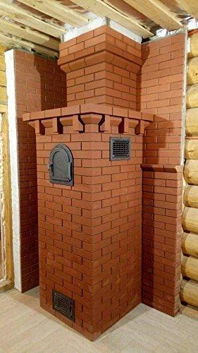 Backofentür Ofentür Pizzaofentür Holzbackofentür Steinbackofentür aus Gusseisen mit Thermometer und Ofenscheibe | Außenmaße: 490x280 mm | Öffnungsrichtung: links