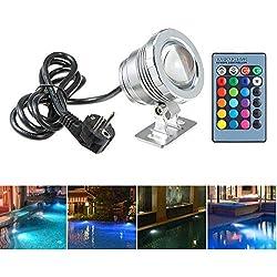 BLOOMWIN Lumière de Piscine 10W avec Télécommande 4 Modes RGBW IP68 85-265V Spot LED Aquarium Lampe sous-Marine Eclairage Submersible Projecteur Lampe Extérieure pour Etangs Fontaines Lac du Parc