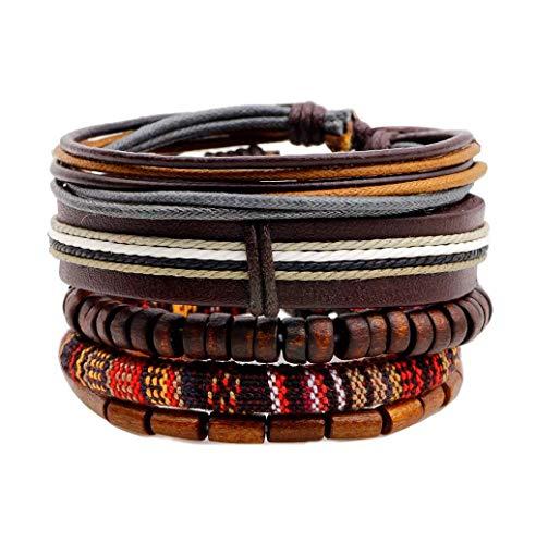 Unbekannt Herren Armband Lederarmband Set, 5-teiliges Set Perlen im nationalen Stil, 7,6