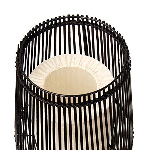Bambus Rattan Stehleuchte Stehlampe 2 Flammig Dunkelbraun Ca