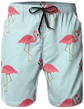 Flamingo Floral Men's/Boys Casual Quick-Drying Bath Suits Elastic Waist Beach Pants with Pockets